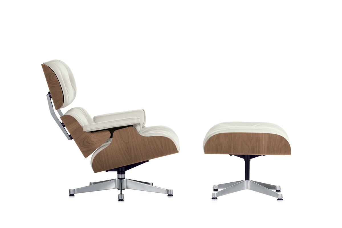 vitra lounge chair white version ottoman door charles ray eames design oostende. Black Bedroom Furniture Sets. Home Design Ideas